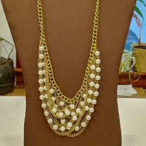 Vintage Graziano Gold Pearl Multistrand Necklace